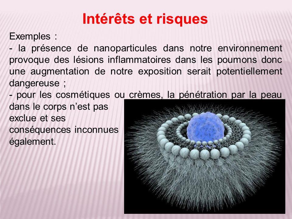 Exemples : - la présence de nanoparticules dans notre environnement provoque des lésions inflammatoires dans les poumons donc une augmentation de notr