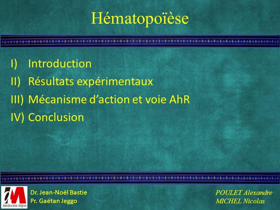 Hématopoïèse I)Introduction II)Résultats expérimentaux III)Mécanisme daction et voie AhR IV)Conclusion POULET Alexandre MICHEL Nicolas Dr. Jean-Noël B