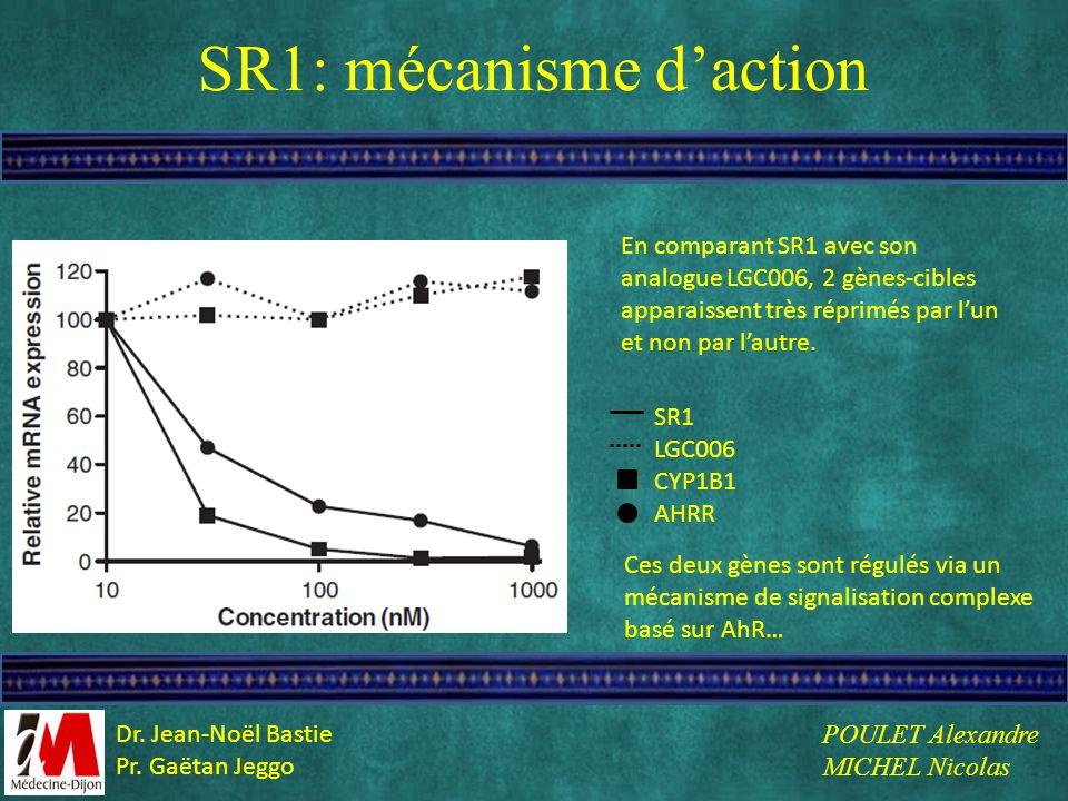 SR1: mécanisme daction SR1 LGC006 CYP1B1 AHRR En comparant SR1 avec son analogue LGC006, 2 gènes-cibles apparaissent très réprimés par lun et non par