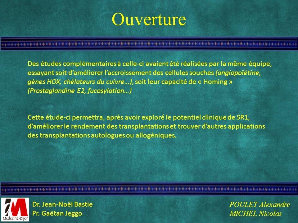 Ouverture Des études complémentaires à celle-ci avaient été réalisées par la même équipe, essayant soit daméliorer laccroissement des cellules souches