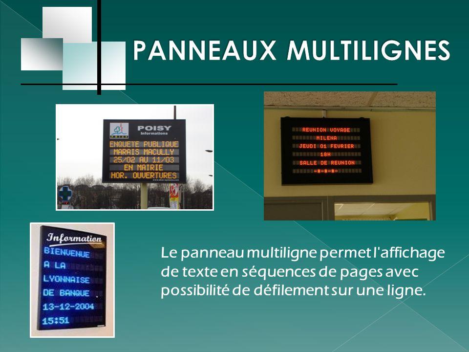 Le panneau multiligne permet l'affichage de texte en séquences de pages avec possibilité de défilement sur une ligne.