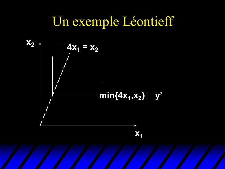 Un exemple Léontieff x1x1 x2x2 min{4x 1,x 2 } y 4x 1 = x 2