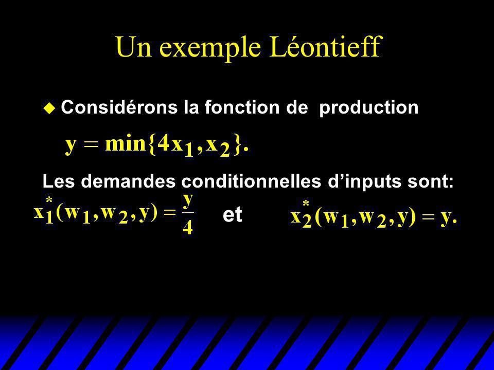 Un exemple Léontieff u Considérons la fonction de production Les demandes conditionnelles dinputs sont: et