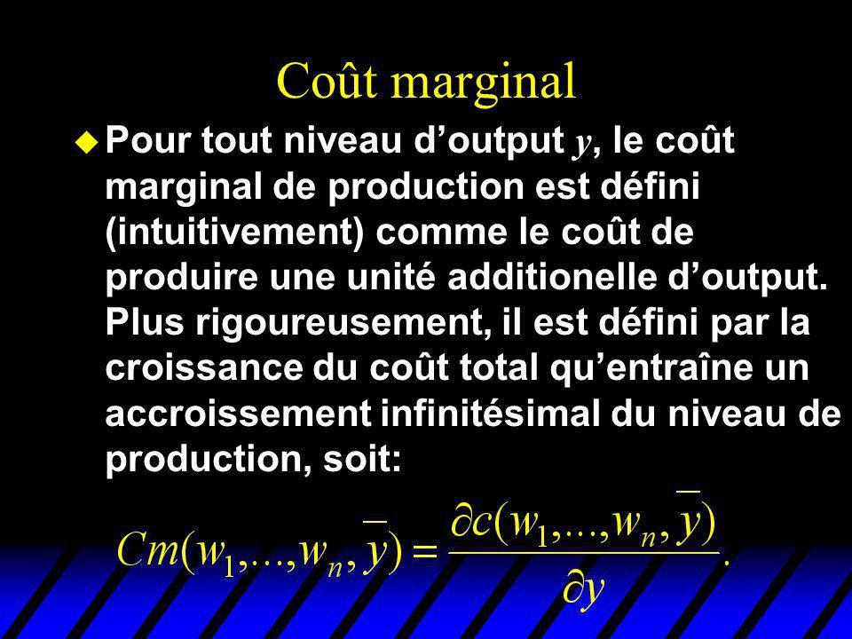 Coût marginal Pour tout niveau doutput y, le coût marginal de production est défini (intuitivement) comme le coût de produire une unité additionelle d