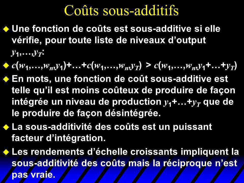 Coûts sous-additifs Une fonction de coûts est sous-additive si elle vérifie, pour toute liste de niveaux doutput y 1,…, y T : c ( w 1,…, w n, y 1 )+…+ c ( w 1,…, w n, y T ) > c ( w 1,…, w n, y 1 +…+ y T ) En mots, une fonction de coût sous-additive est telle quil est moins coûteux de produire de façon intégrée un niveau de production y 1 +…+ y T que de le produire de façon désintégrée.