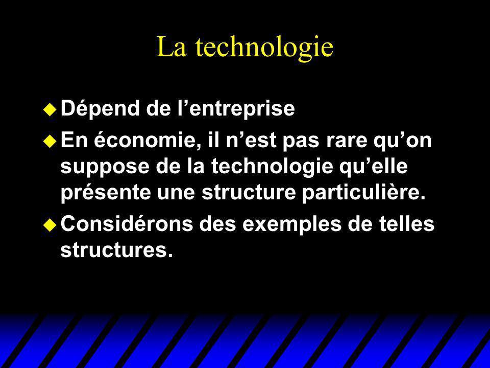 La technologie u Dépend de lentreprise u En économie, il nest pas rare quon suppose de la technologie quelle présente une structure particulière. u Co