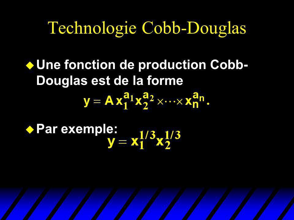 Technologie Cobb-Douglas u Une fonction de production Cobb- Douglas est de la forme u Par exemple: