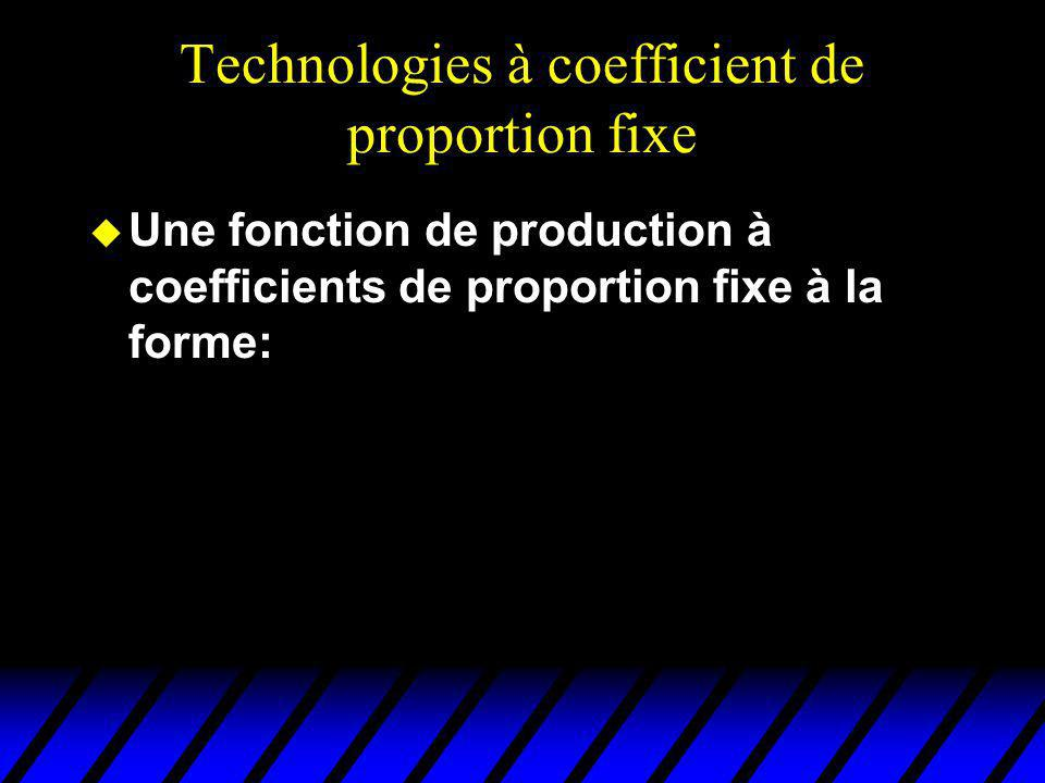 Technologies à coefficient de proportion fixe u Une fonction de production à coefficients de proportion fixe à la forme: