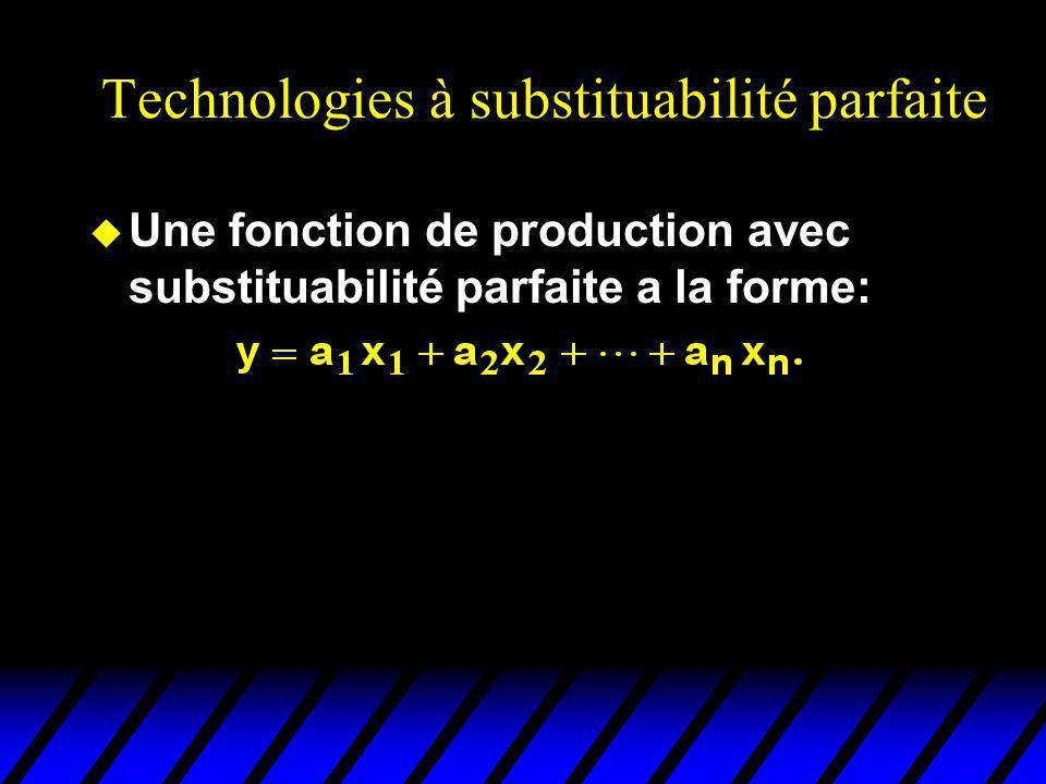 Technologies à substituabilité parfaite u Une fonction de production avec substituabilité parfaite a la forme: