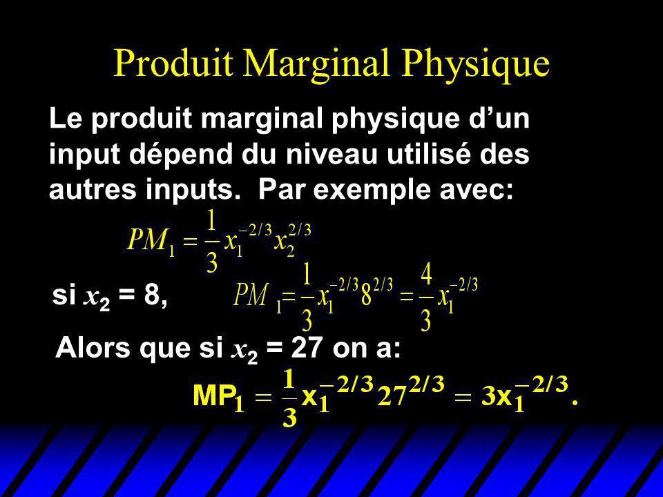 Produit Marginal Physique Le produit marginal physique dun input dépend du niveau utilisé des autres inputs. Par exemple avec: Alors que si x 2 = 27 o
