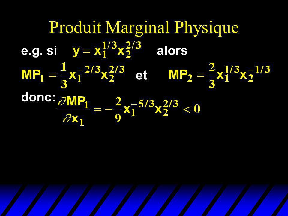 Produit Marginal Physique et donc: e.g. sialors