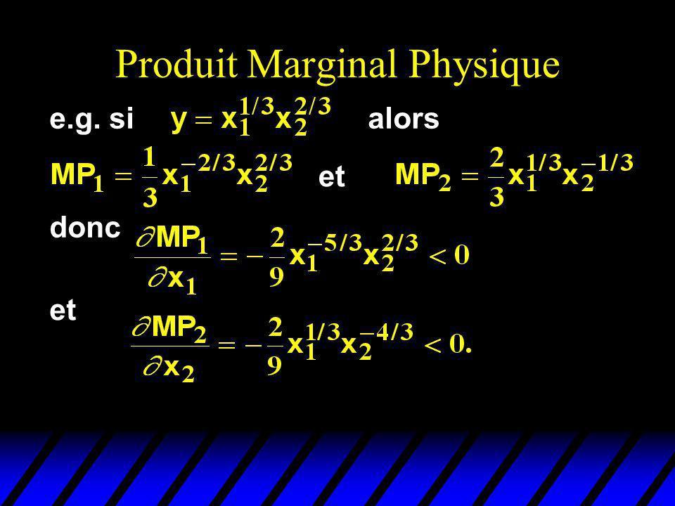 Produit Marginal Physique et donc et e.g. sialors