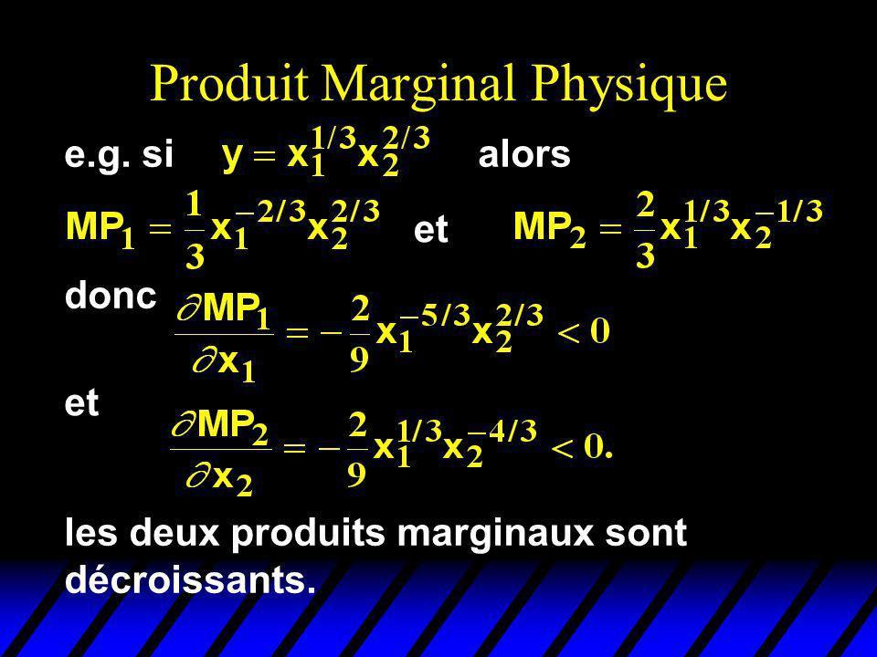Produit Marginal Physique et donc et les deux produits marginaux sont décroissants. e.g. sialors