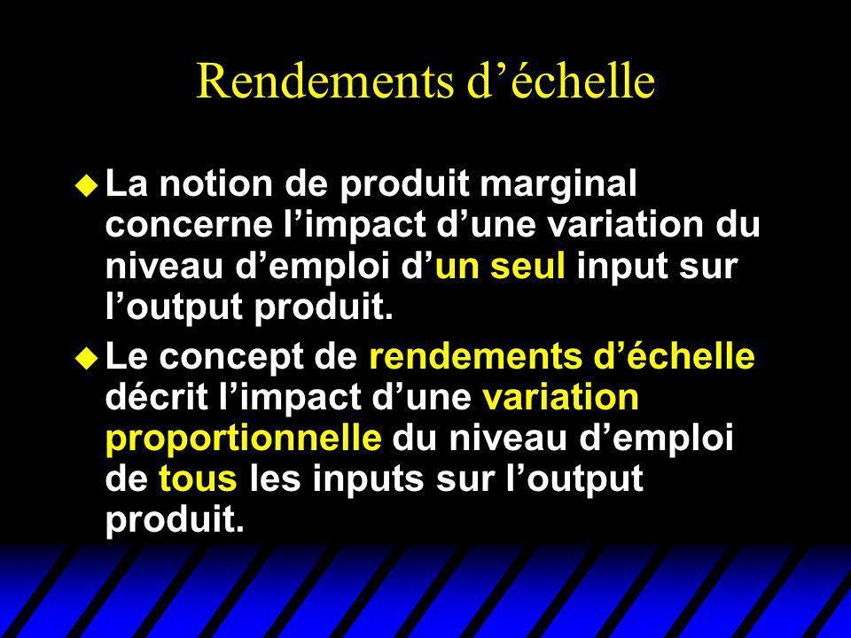 Rendements déchelle u La notion de produit marginal concerne limpact dune variation du niveau demploi dun seul input sur loutput produit. u Le concept