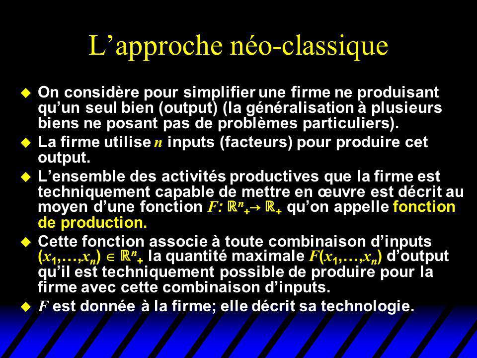 Lapproche néo-classique u On considère pour simplifier une firme ne produisant quun seul bien (output) (la généralisation à plusieurs biens ne posant pas de problèmes particuliers).