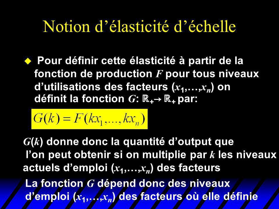 Notion délasticité déchelle Pour définir cette élasticité à partir de la fonction de production F pour tous niveaux dutilisations des facteurs ( x 1,…, x n ) on définit la fonction G : + + par: G ( k ) donne donc la quantité doutput que lon peut obtenir si on multiplie par k les niveaux actuels demploi ( x 1,…, x n ) des facteurs La fonction G dépend donc des niveaux demploi ( x 1,…, x n ) des facteurs où elle définie