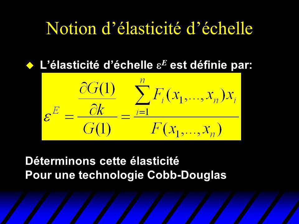Notion délasticité déchelle Lélasticité déchelle E est définie par: Déterminons cette élasticité Pour une technologie Cobb-Douglas
