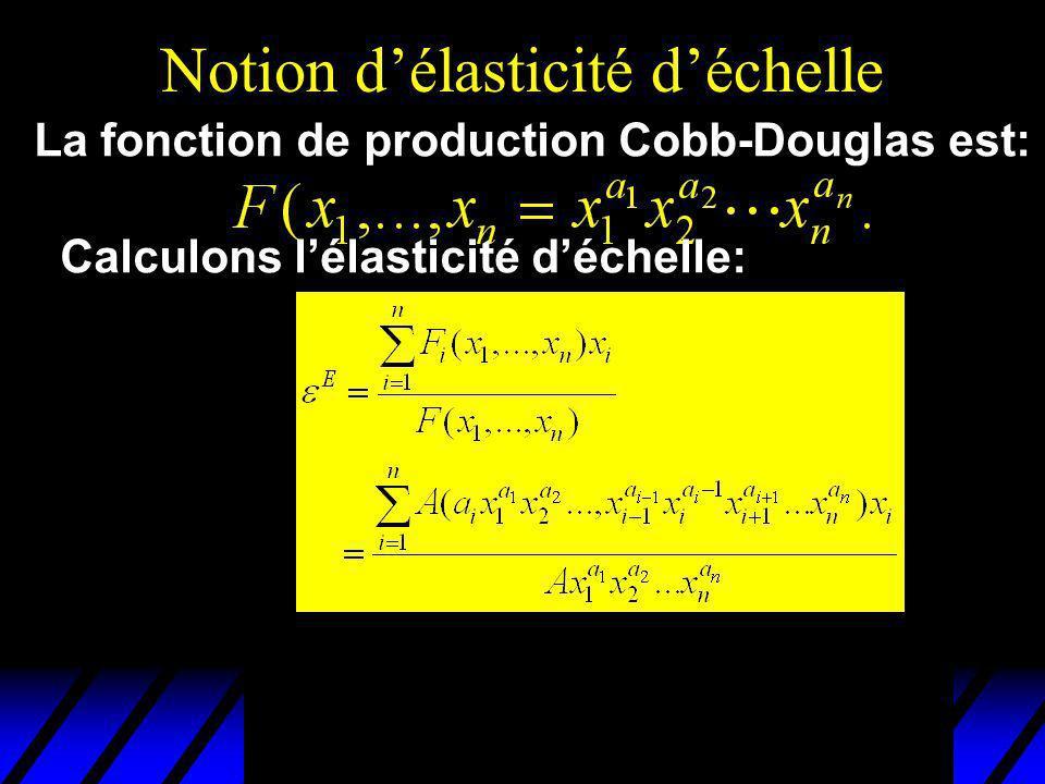 Notion délasticité déchelle La fonction de production Cobb-Douglas est: Calculons lélasticité déchelle: