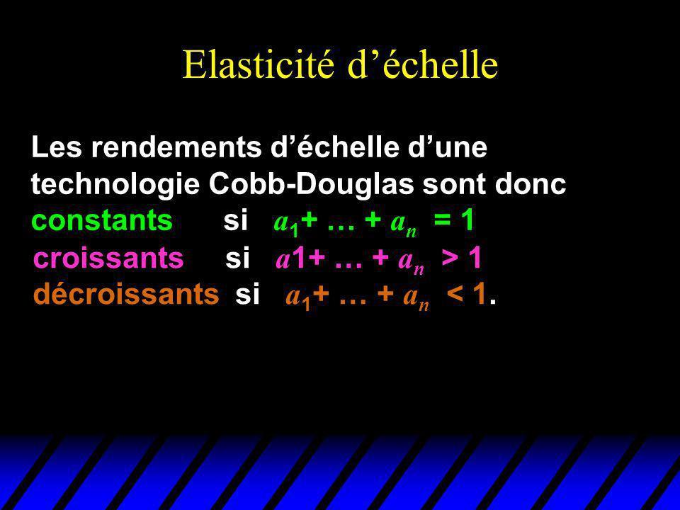Elasticité déchelle Les rendements déchelle dune technologie Cobb-Douglas sont donc constants si a 1 + … + a n = 1 croissants si a 1+ … + a n > 1 décroissants si a 1 + … + a n < 1.