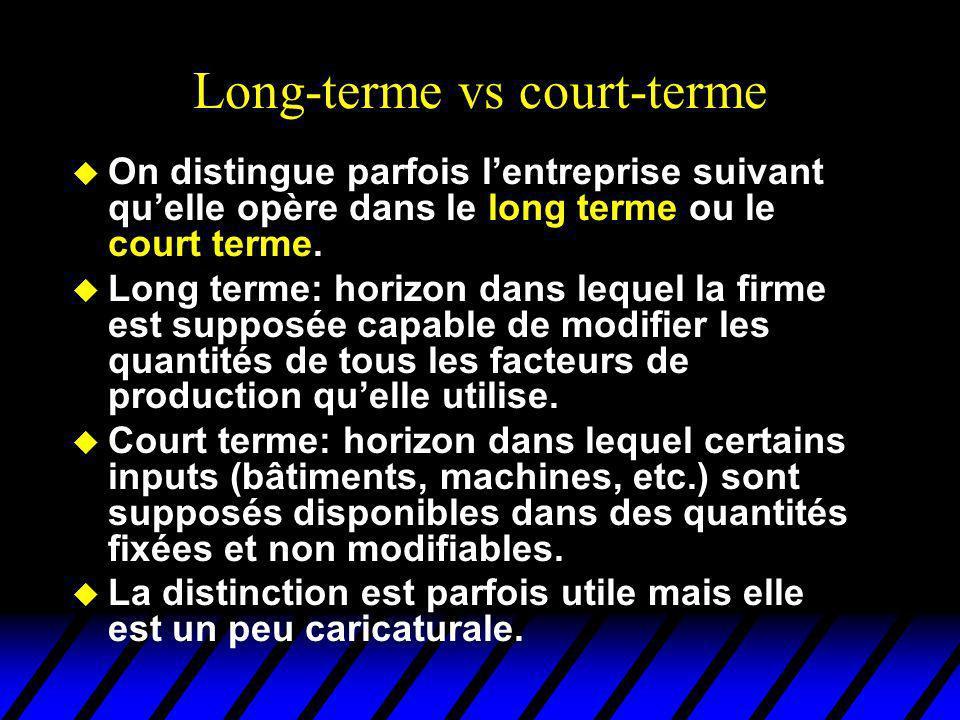 Long-terme vs court-terme u On distingue parfois lentreprise suivant quelle opère dans le long terme ou le court terme. u Long terme: horizon dans leq