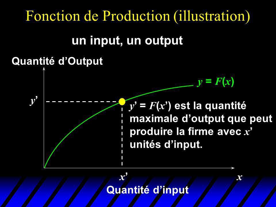 Fonction de Production (illustration) y = F ( x ) x x Quantité dinput Quantité dOutput y y = F ( x ) est la quantité maximale doutput que peut produire la firme avec x unités dinput.