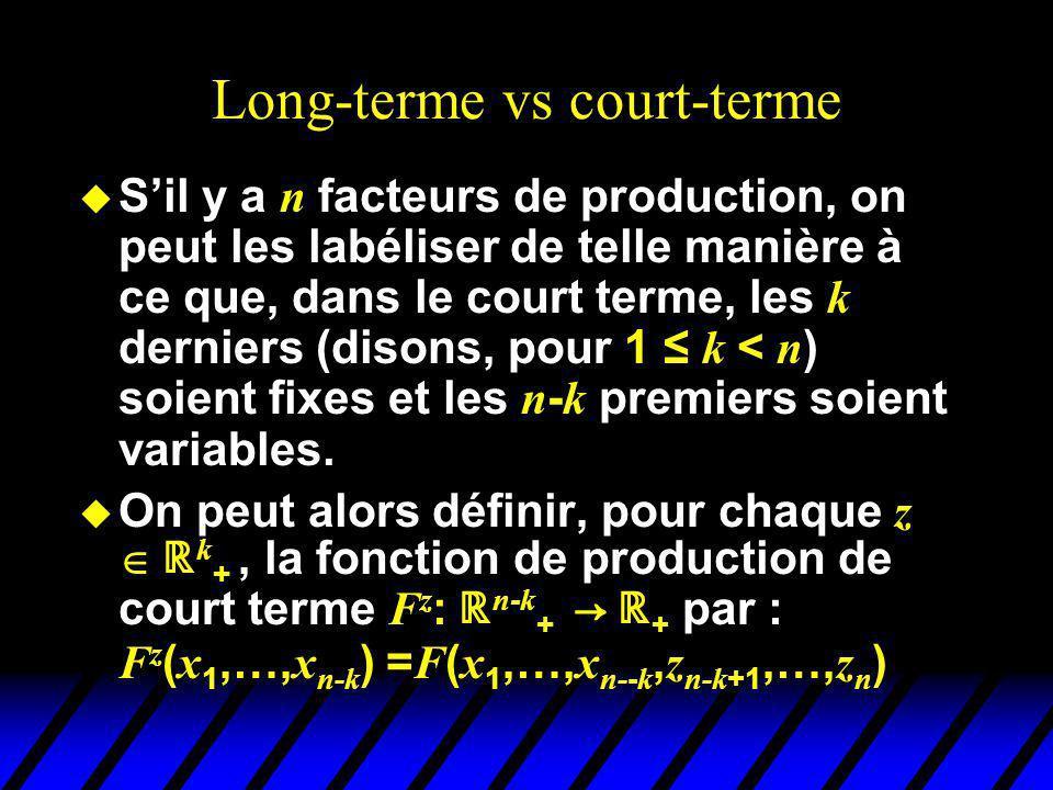 Long-terme vs court-terme Sil y a n facteurs de production, on peut les labéliser de telle manière à ce que, dans le court terme, les k derniers (disons, pour 1 k < n ) soient fixes et les n - k premiers soient variables.