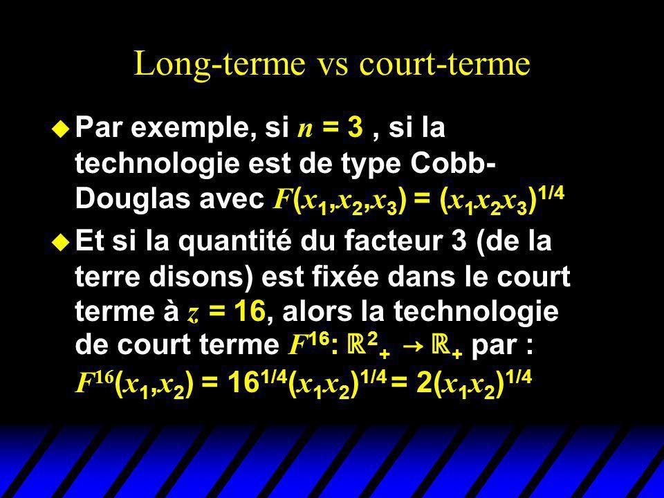 Long-terme vs court-terme Par exemple, si n = 3, si la technologie est de type Cobb- Douglas avec F ( x 1, x 2, x 3 ) = ( x 1 x 2 x 3 ) 1/4 Et si la quantité du facteur 3 (de la terre disons) est fixée dans le court terme à z = 16, alors la technologie de court terme F 16 : 2 + + par : F 16 ( x 1, x 2 ) = 16 1/4 ( x 1 x 2 ) 1/4 = 2( x 1 x 2 ) 1/4