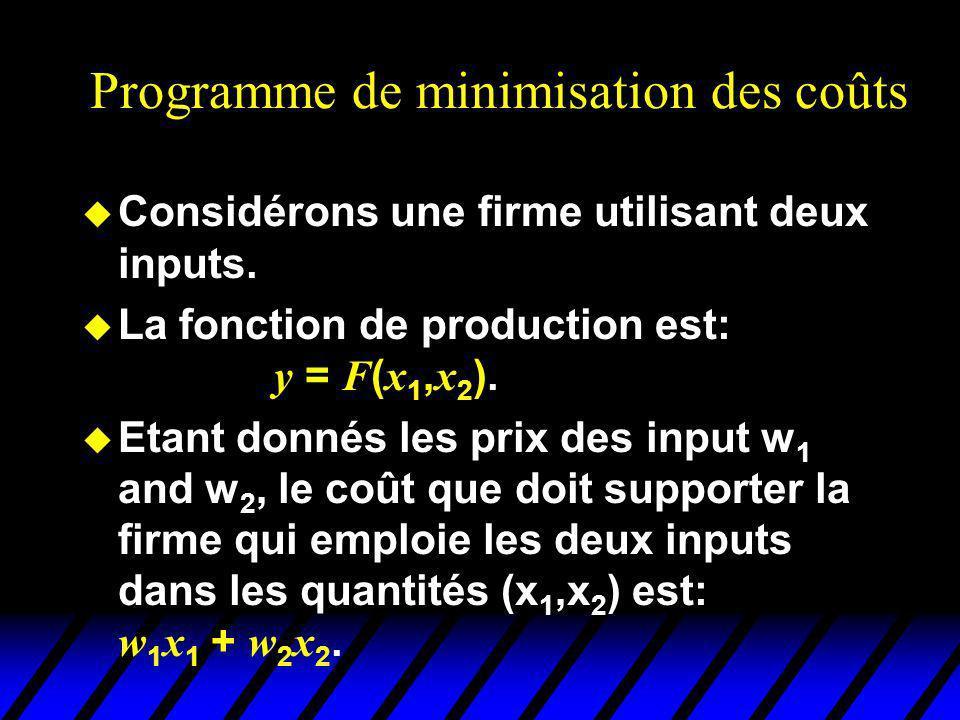 Programme de minimisation des coûts u Considérons une firme utilisant deux inputs. La fonction de production est: y = F ( x 1, x 2 ). Etant donnés les
