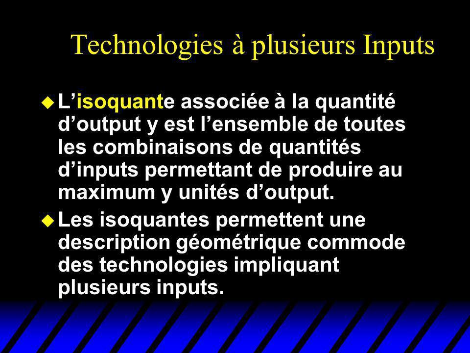 Technologies à plusieurs Inputs u Lisoquante associée à la quantité doutput y est lensemble de toutes les combinaisons de quantités dinputs permettant