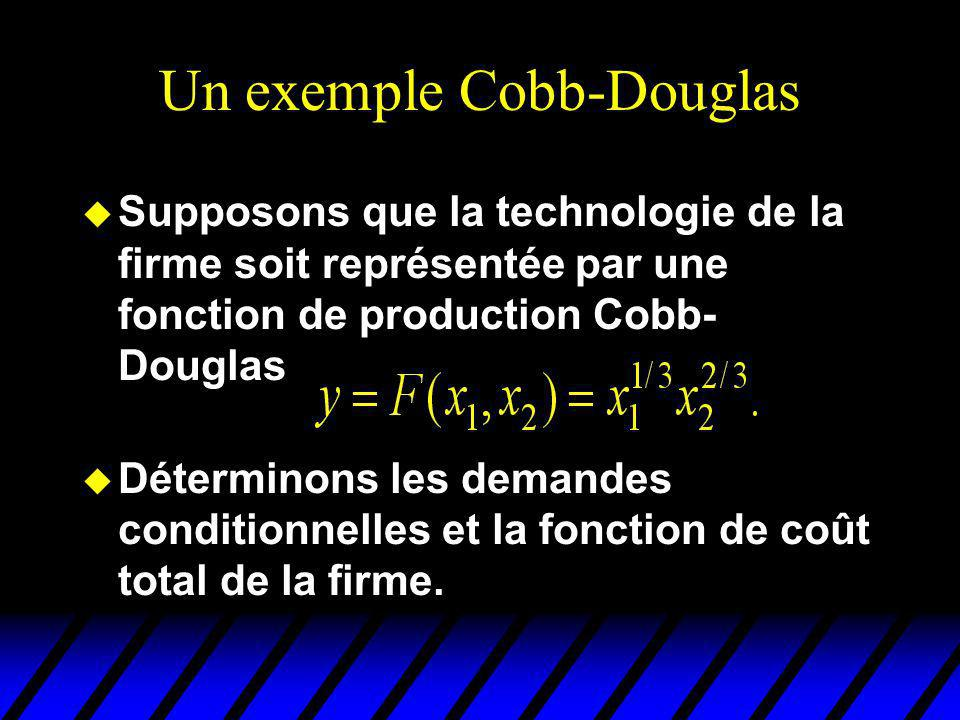 Un exemple Cobb-Douglas u Supposons que la technologie de la firme soit représentée par une fonction de production Cobb- Douglas u Déterminons les demandes conditionnelles et la fonction de coût total de la firme.