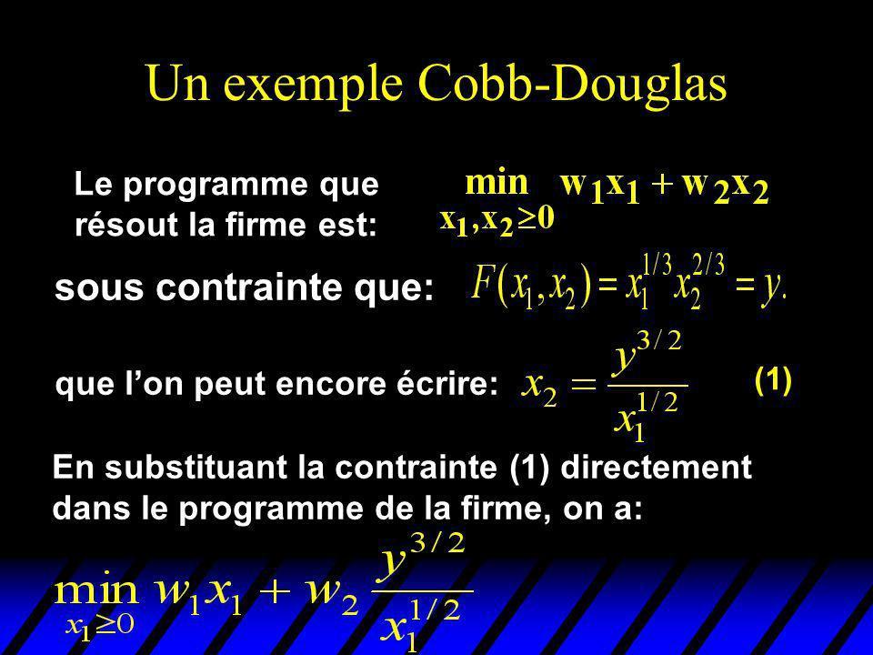 Un exemple Cobb-Douglas sous contrainte que: Le programme que résout la firme est: que lon peut encore écrire: (1) En substituant la contrainte (1) directement dans le programme de la firme, on a: