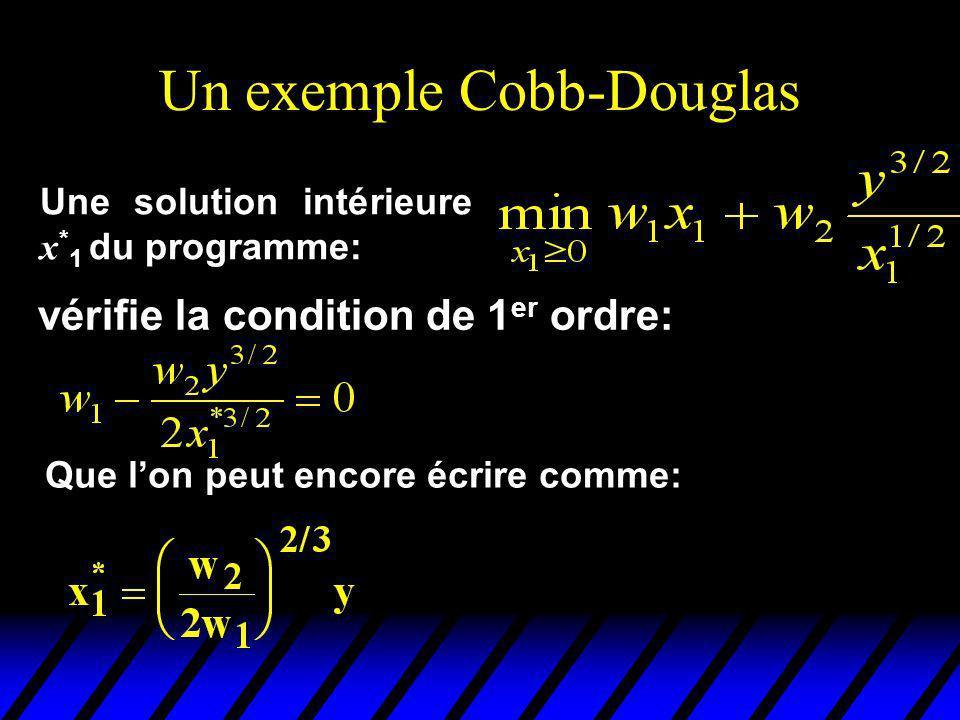Un exemple Cobb-Douglas vérifie la condition de 1 er ordre: Une solution intérieure x * 1 du programme: Que lon peut encore écrire comme: