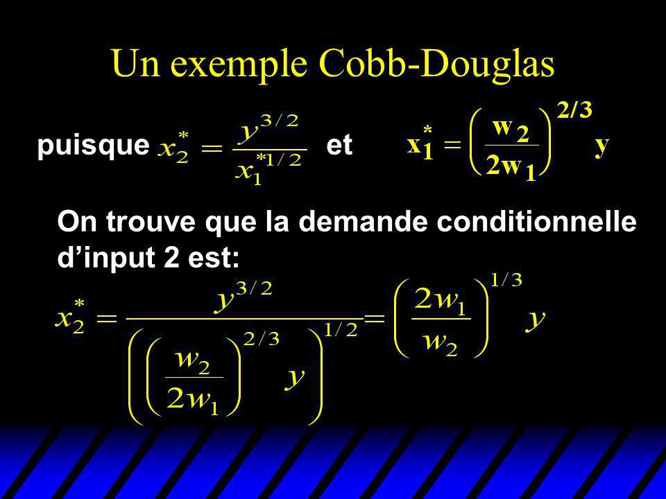 Un exemple Cobb-Douglas On trouve que la demande conditionnelle dinput 2 est: puisqueet