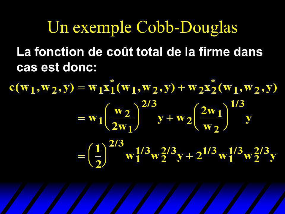 Un exemple Cobb-Douglas La fonction de coût total de la firme dans cas est donc: