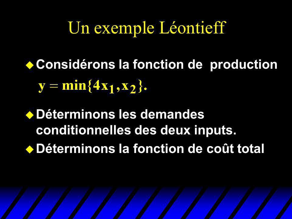 Un exemple Léontieff u Considérons la fonction de production u Déterminons les demandes conditionnelles des deux inputs. u Déterminons la fonction de