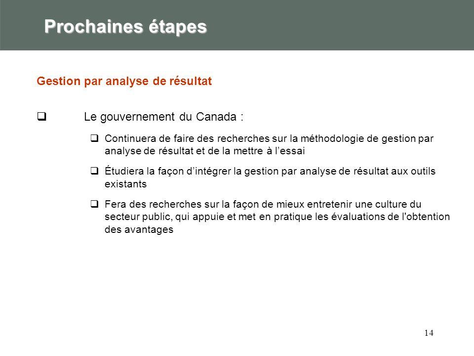 14 Prochaines étapes Gestion par analyse de résultat Le gouvernement du Canada : Continuera de faire des recherches sur la méthodologie de gestion par