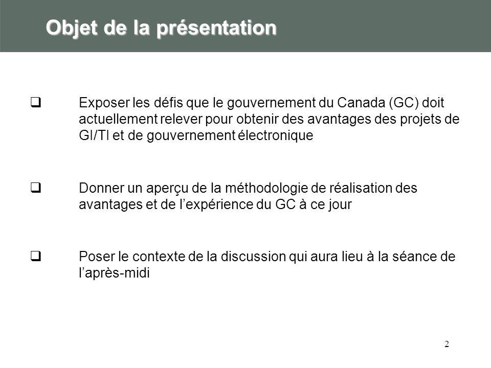 2 Objet de la présentation Exposer les défis que le gouvernement du Canada (GC) doit actuellement relever pour obtenir des avantages des projets de GI/TI et de gouvernement électronique Donner un aperçu de la méthodologie de réalisation des avantages et de lexpérience du GC à ce jour Poser le contexte de la discussion qui aura lieu à la séance de laprès-midi