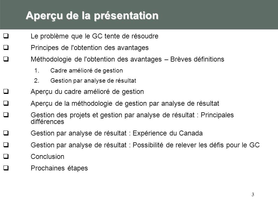 3 Aperçu de la présentation Le problème que le GC tente de résoudre Principes de l obtention des avantages Méthodologie de l obtention des avantages – Brèves définitions 1.Cadre amélioré de gestion 2.Gestion par analyse de résultat Aperçu du cadre amélioré de gestion Aperçu de la méthodologie de gestion par analyse de résultat Gestion des projets et gestion par analyse de résultat : Principales différences Gestion par analyse de résultat : Expérience du Canada Gestion par analyse de résultat : Possibilité de relever les défis pour le GC Conclusion Prochaines étapes