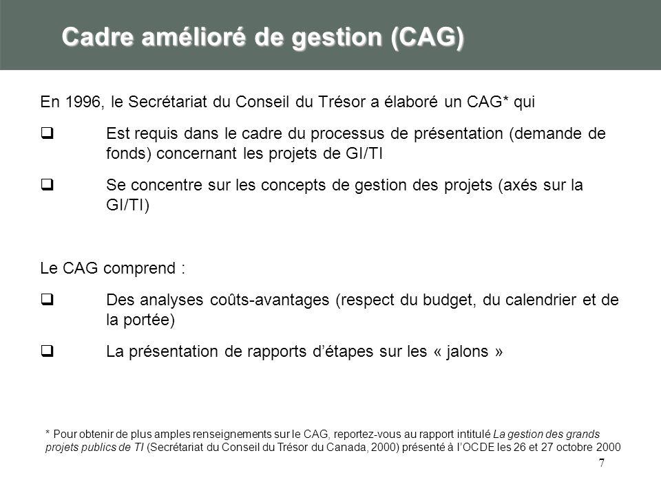 7 Cadre amélioré de gestion (CAG) En 1996, le Secrétariat du Conseil du Trésor a élaboré un CAG* qui Est requis dans le cadre du processus de présenta