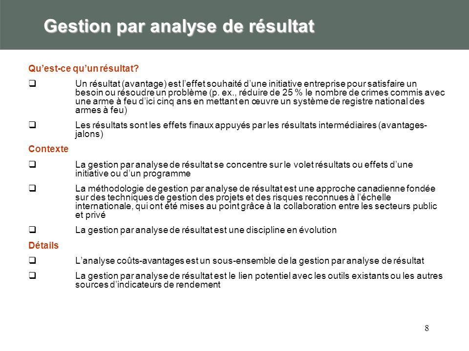 8 Gestion par analyse de résultat Quest-ce quun résultat? Un résultat (avantage) est leffet souhaité dune initiative entreprise pour satisfaire un bes