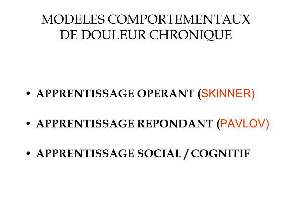 MODELES COMPORTEMENTAUX DE DOULEUR CHRONIQUE APPRENTISSAGE OPERANT ( SKINNER) APPRENTISSAGE REPONDANT ( PAVLOV) APPRENTISSAGE SOCIAL / COGNITIF