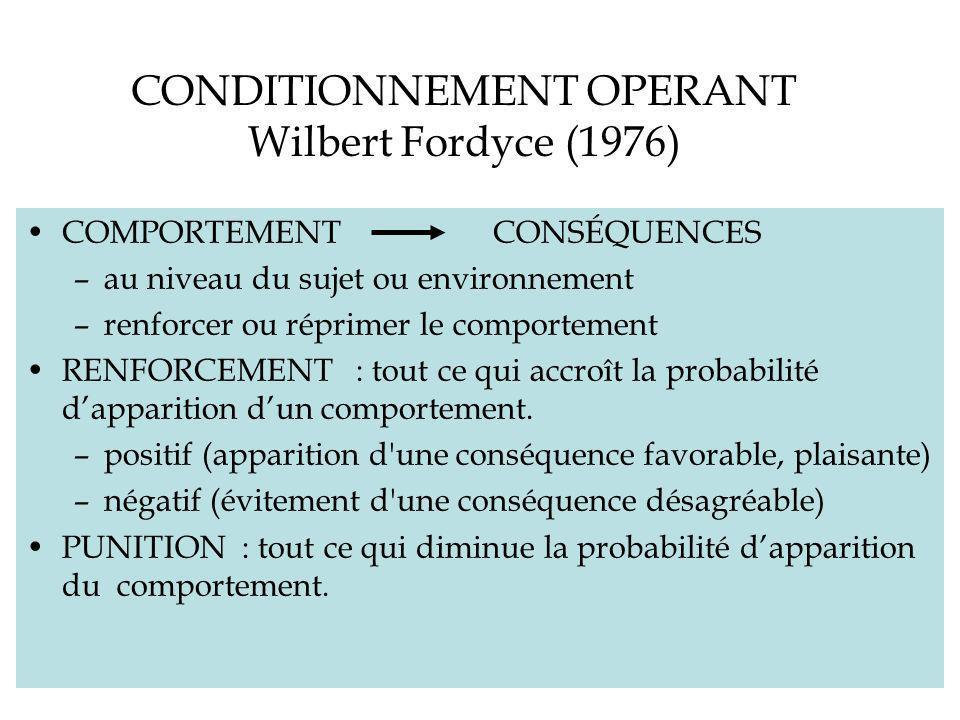 CONDITIONNEMENT OPERANT Wilbert Fordyce (1976) COMPORTEMENT CONSÉQUENCES –au niveau du sujet ou environnement –renforcer ou réprimer le comportement RENFORCEMENT : tout ce qui accroît la probabilité dapparition dun comportement.