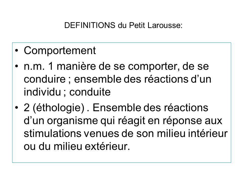 DEFINITIONS du Petit Larousse: Comportement n.m. 1 manière de se comporter, de se conduire ; ensemble des réactions dun individu ; conduite 2 (étholog
