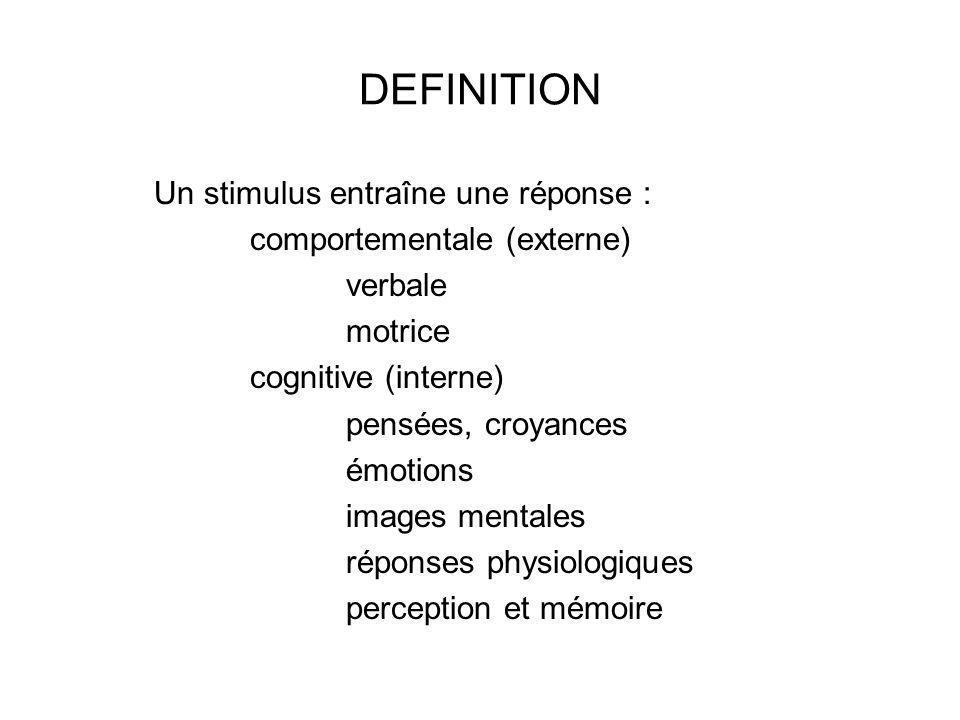 DEFINITION Un stimulus entraîne une réponse : comportementale (externe) verbale motrice cognitive (interne) pensées, croyances émotions images mentales réponses physiologiques perception et mémoire