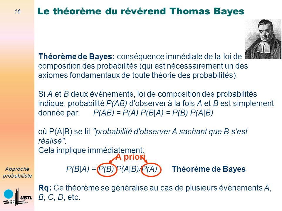 15 Approche probabiliste 15 Fusion bayesienne Basée sur l utilisation du théorème de Bayes Fusion