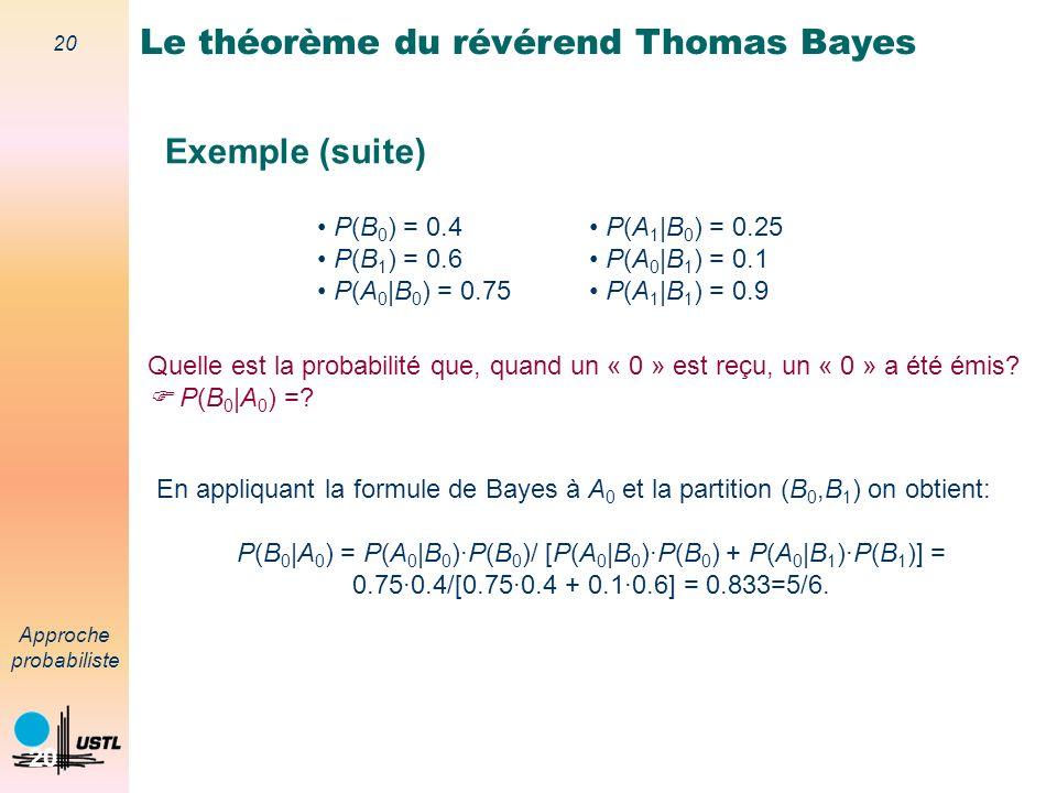 19 Approche probabiliste 19 Le théorème du révérend Thomas Bayes Exemple Dans un système de communication numérique, on transmet des « 0 » et des « 1 » via un canal de transmission bruité tel que: Si un « 0 » est émis, on reçoit un « 0 » avec une probabilité 0.75; Si un « 1 » est émis, un « 1 » est reçu avec une probabilité 0.9.