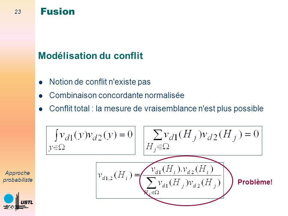 22 Approche probabiliste 22 Fusion : mesure - mesure Information disponible : – distribution de vraisemblance source 1 : p(d 1 /H i )=v d1 (H i ) – distribution de vraisemblance source 2 : p(d 2 /H i )=v d2 (H i ) Vraisemblance Fusion
