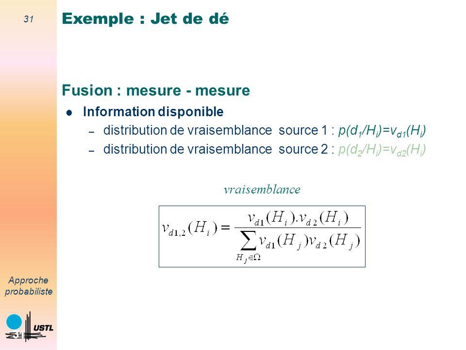 30 Approche probabiliste 30 Fusion modèle-mesure Capteur 1 : 1 point Exemple : Jet de dé Daprès M.