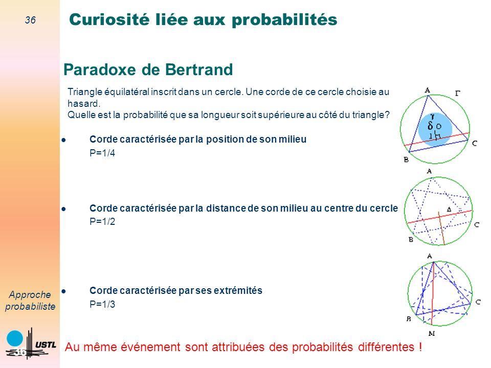 35 Approche probabiliste 35 Paradoxe de Bertrand Curiosité liée aux probabilités Au même événement sont attribuées des probabilités différentes .