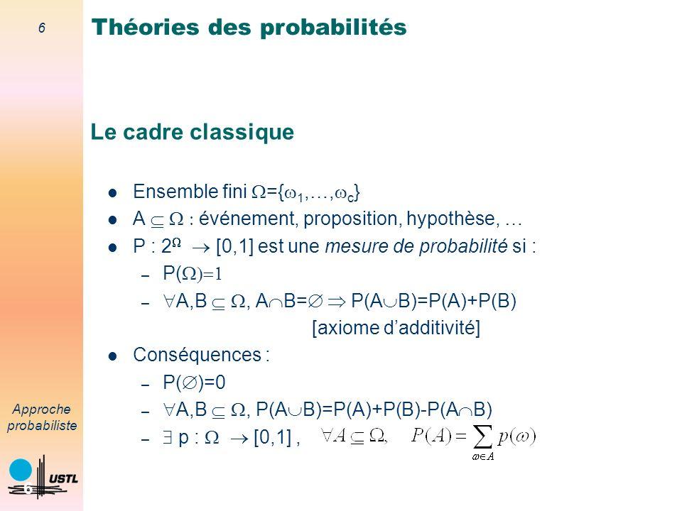 6 Approche probabiliste 6 Le cadre classique Ensemble fini ={ 1,…, c } A événement, proposition, hypothèse, … P : 2 [0,1] est une mesure de probabilité si : – P( – A,B, A B= P(A B)=P(A)+P(B) [axiome dadditivité] Conséquences : – P( )=0 – A,B, P(A B)=P(A)+P(B)-P(A B) – p : [0,1], Théories des probabilités